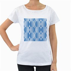 Blue Monochrome Geometric Design Women s Loose Fit T Shirt (white)