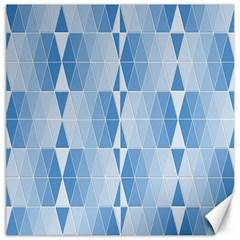 Blue Monochrome Geometric Design Canvas 20  X 20