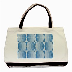 Blue Monochrome Geometric Design Basic Tote Bag (two Sides)