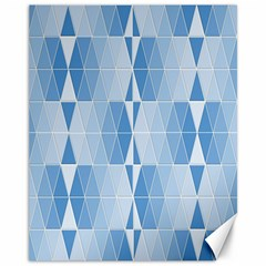 Blue Monochrome Geometric Design Canvas 11  X 14