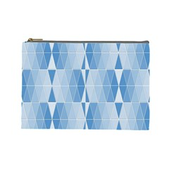 Blue Monochrome Geometric Design Cosmetic Bag (large)