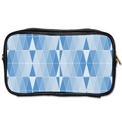 Blue Monochrome Geometric Design Toiletries Bags 2 Side by Nexatart