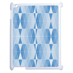 Blue Monochrome Geometric Design Apple Ipad 2 Case (white)