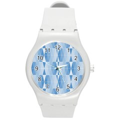 Blue Monochrome Geometric Design Round Plastic Sport Watch (m)