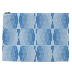 Blue Monochrome Geometric Design Cosmetic Bag (xxl)