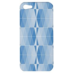 Blue Monochrome Geometric Design Apple Iphone 5 Hardshell Case by Nexatart