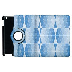 Blue Monochrome Geometric Design Apple Ipad 2 Flip 360 Case