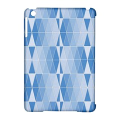 Blue Monochrome Geometric Design Apple Ipad Mini Hardshell Case (compatible With Smart Cover) by Nexatart