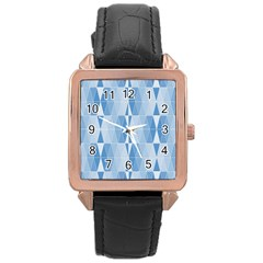 Blue Monochrome Geometric Design Rose Gold Leather Watch  by Nexatart