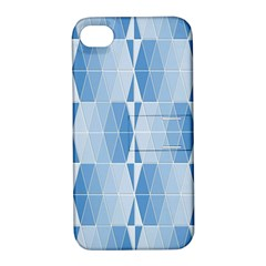 Blue Monochrome Geometric Design Apple Iphone 4/4s Hardshell Case With Stand