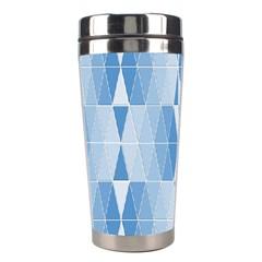 Blue Monochrome Geometric Design Stainless Steel Travel Tumblers