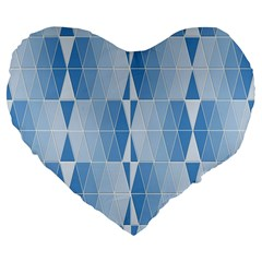 Blue Monochrome Geometric Design Large 19  Premium Flano Heart Shape Cushions