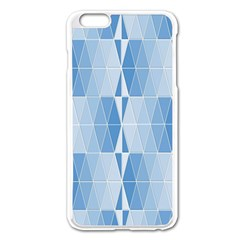 Blue Monochrome Geometric Design Apple Iphone 6 Plus/6s Plus Enamel White Case