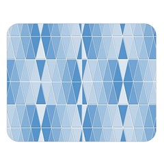 Blue Monochrome Geometric Design Double Sided Flano Blanket (large)