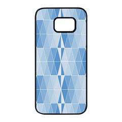 Blue Monochrome Geometric Design Samsung Galaxy S7 Edge Black Seamless Case