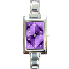 Purple Geometric Cotton Fabric Rectangle Italian Charm Watch