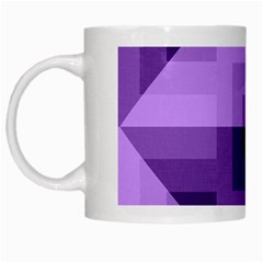 Purple Geometric Cotton Fabric White Mugs