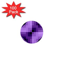 Purple Geometric Cotton Fabric 1  Mini Magnets (100 Pack)  by Nexatart