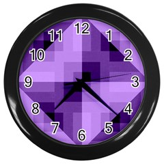 Purple Geometric Cotton Fabric Wall Clocks (black)