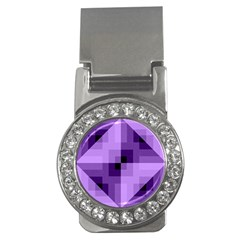 Purple Geometric Cotton Fabric Money Clips (cz)
