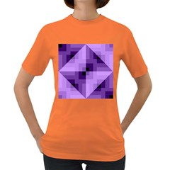 Purple Geometric Cotton Fabric Women s Dark T Shirt