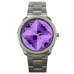 Purple Geometric Cotton Fabric Sport Metal Watch