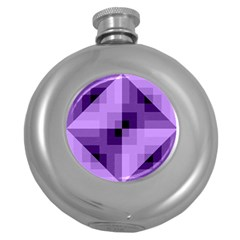 Purple Geometric Cotton Fabric Round Hip Flask (5 Oz) by Nexatart