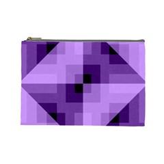 Purple Geometric Cotton Fabric Cosmetic Bag (large)  by Nexatart