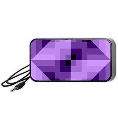 Purple Geometric Cotton Fabric Portable Speaker by Nexatart