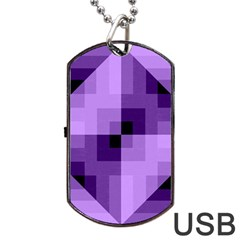 Purple Geometric Cotton Fabric Dog Tag Usb Flash (two Sides) by Nexatart
