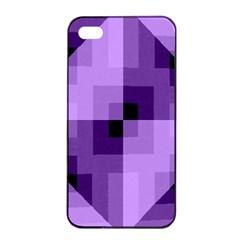 Purple Geometric Cotton Fabric Apple Iphone 4/4s Seamless Case (black)