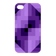 Purple Geometric Cotton Fabric Apple Iphone 4/4s Premium Hardshell Case