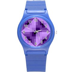 Purple Geometric Cotton Fabric Round Plastic Sport Watch (s)