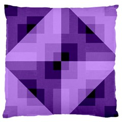 Purple Geometric Cotton Fabric Large Cushion Case (one Side) by Nexatart