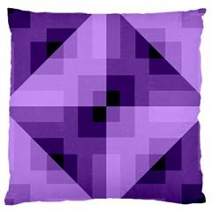 Purple Geometric Cotton Fabric Large Cushion Case (two Sides) by Nexatart