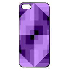 Purple Geometric Cotton Fabric Apple Iphone 5 Seamless Case (black)