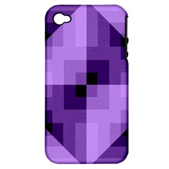 Purple Geometric Cotton Fabric Apple Iphone 4/4s Hardshell Case (pc+silicone)