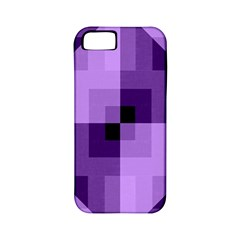 Purple Geometric Cotton Fabric Apple Iphone 5 Classic Hardshell Case (pc+silicone)