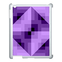 Purple Geometric Cotton Fabric Apple Ipad 3/4 Case (white)