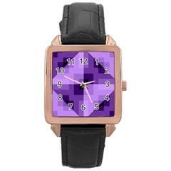 Purple Geometric Cotton Fabric Rose Gold Leather Watch