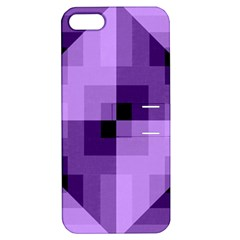 Purple Geometric Cotton Fabric Apple Iphone 5 Hardshell Case With Stand