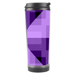Purple Geometric Cotton Fabric Travel Tumbler