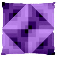 Purple Geometric Cotton Fabric Large Flano Cushion Case (one Side)