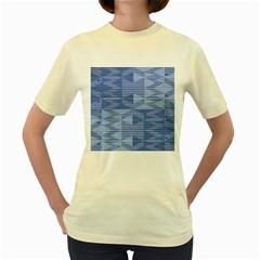 Texture Wood Slats Geometric Aztec Women s Yellow T Shirt