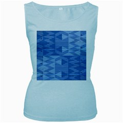 Texture Wood Slats Geometric Aztec Women s Baby Blue Tank Top