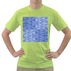 Texture Wood Slats Geometric Aztec Green T Shirt