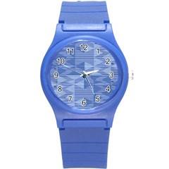 Texture Wood Slats Geometric Aztec Round Plastic Sport Watch (s)