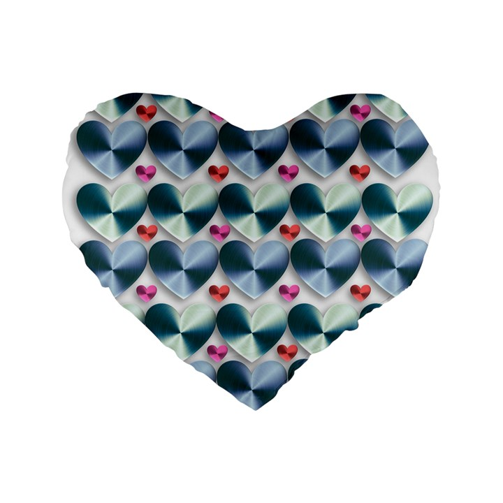 Valentine Valentine S Day Hearts Standard 16  Premium Flano Heart Shape Cushions