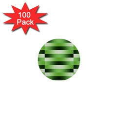 Pinstripes Green Shapes Shades 1  Mini Buttons (100 Pack)