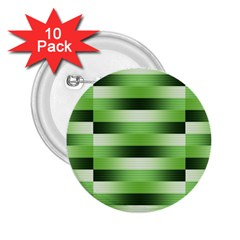 Pinstripes Green Shapes Shades 2 25  Buttons (10 Pack)